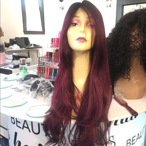 Accessories - Wig long ombré Burgundy Deep Wave Long New Wig